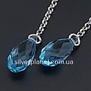 Срібні сережки висюльки з кристалом swarovski / сваровскі на ланцюжку з родієм. Срібні кульчики 925, фото 10