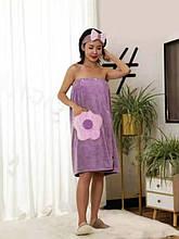 """Полотенце-халат из микрофибры на резинке 75*140 см цвет лавандовый """"Flower"""""""