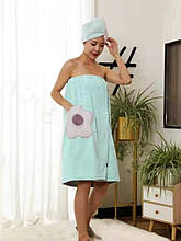 """Полотенце-халат из микрофибры на резинке 75*140 см цвет мята """"Flower"""""""