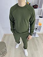Мужской спортивный костюм цвет Хаки без капюшона мужской спортивный комплект кофта + штаны Весна - Осень