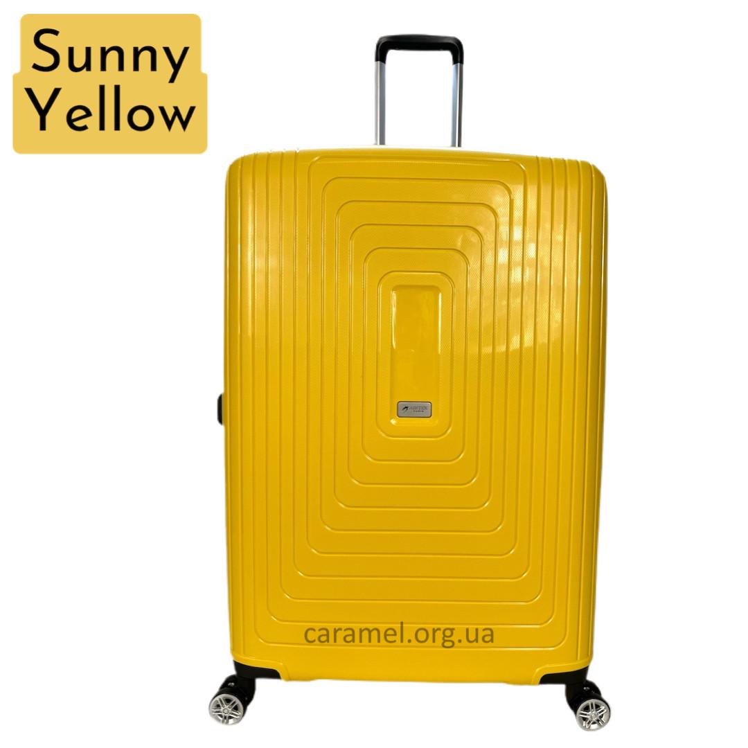 Валіза поліпропіленова на 4х колесах велика L жовта | 32х75х52 см | 4.500 кг | 108 л | AIRTEX 241