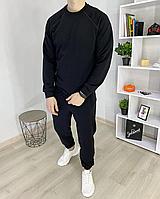 Мужской спортивный костюм цвет Черный без капюшона мужской спортивный комплект кофта + штаны Весна - Осень