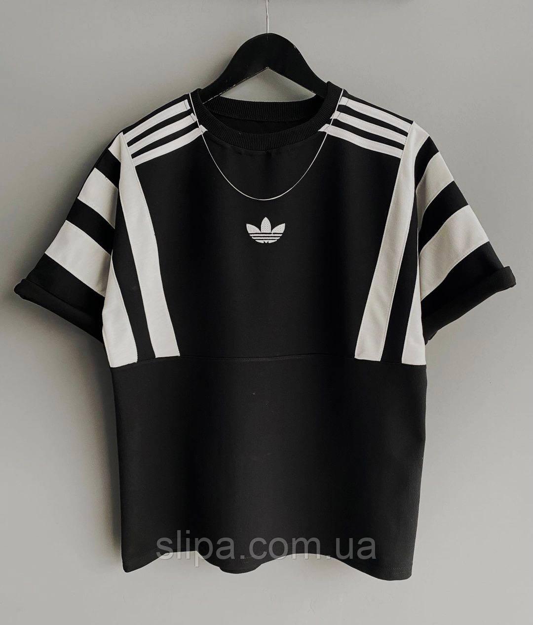 Чорна чоловіча футболка Adidas з білими вставками | Туреччина | оверсайз