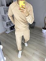 Мужской спортивный костюм цвет бежевый без капюшона мужской спортивный комплект кофта + штаны Весна - Осень