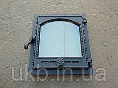 Топкові дверцята c термостеклом 370*330 мм / Дверцята пічні з термосклом 370*330 мм