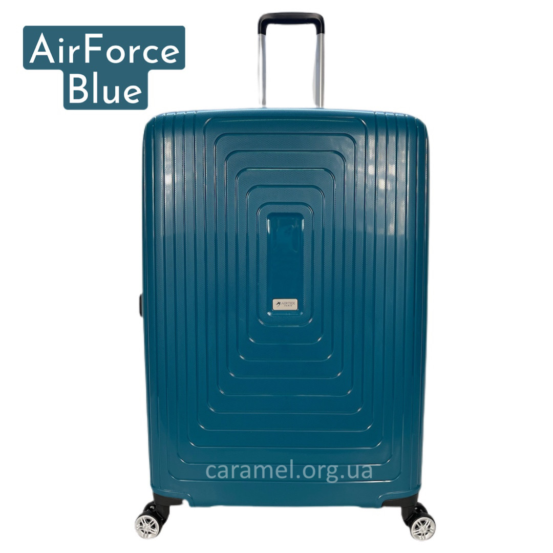 Чемодан полипропиленовый на 4х колесах средний M синий | 26х65х46 см | 3.900 кг | 70 л | AIRTEX 241