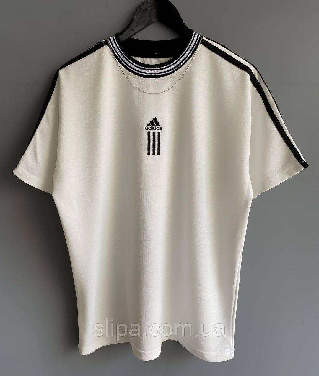 Белая мужская футболка Adidas с белыми вставками | Турция | оверсайз