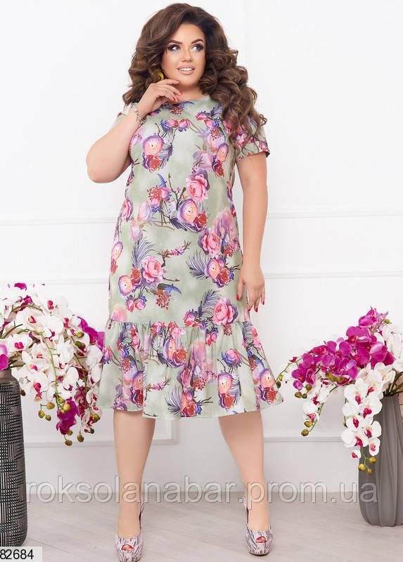 Жіноча літня сукня XL з трояндами і пір'ям