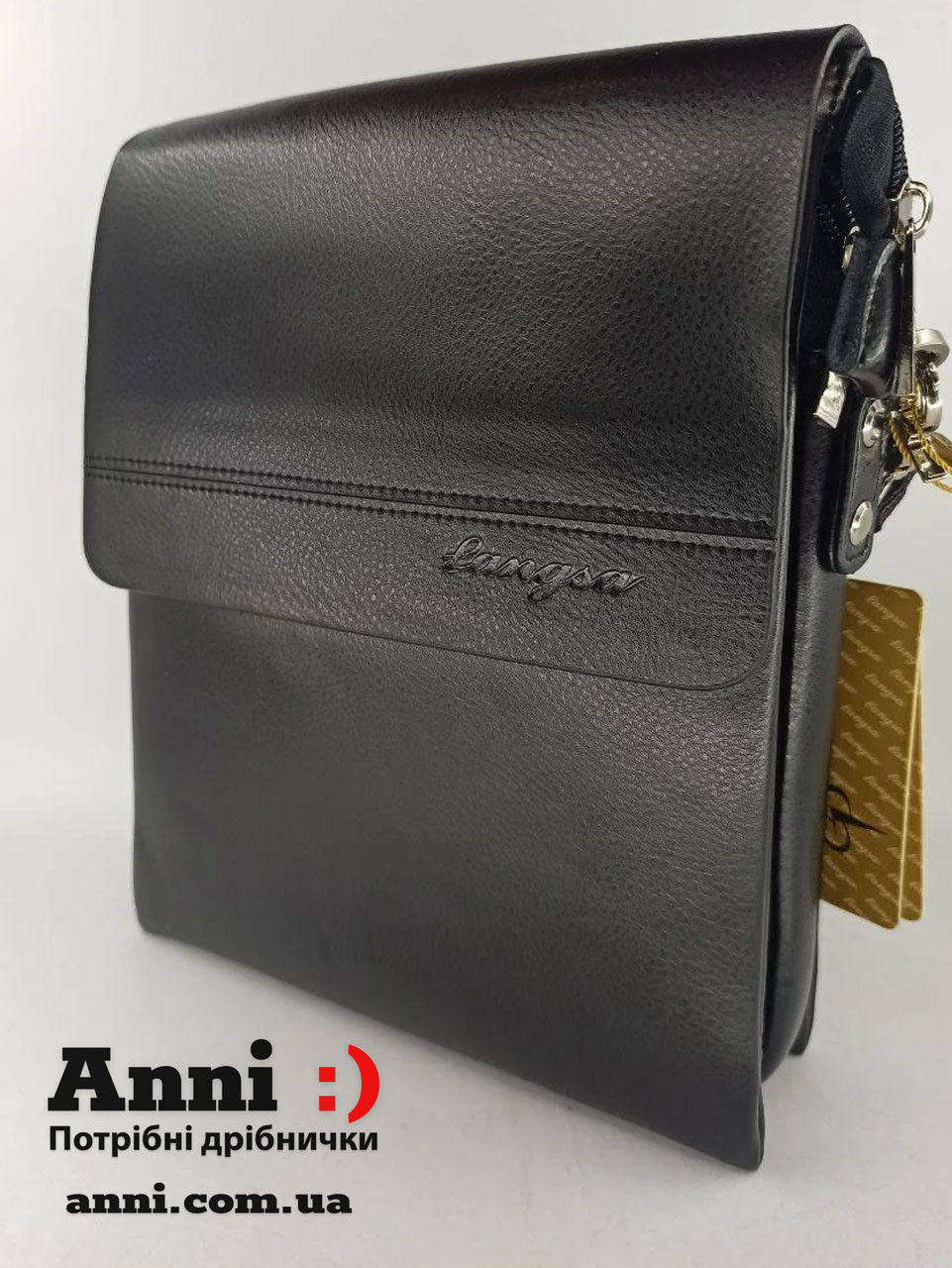 Чоловіча шкіряна сумка планшет через плече 26см * 21см Langsa 3385-3