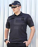 Футболка Поло для Полиции влагоотводящая CoolPass черная, фото 1