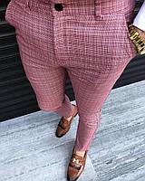 Мужские брюки розовые в клетку Турция