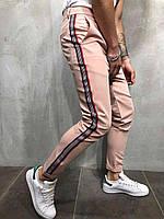 Мужские брюки пудровые с полосками по бокам Турция