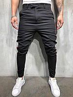 Мужские брюки черные с полосками по бокам Турция