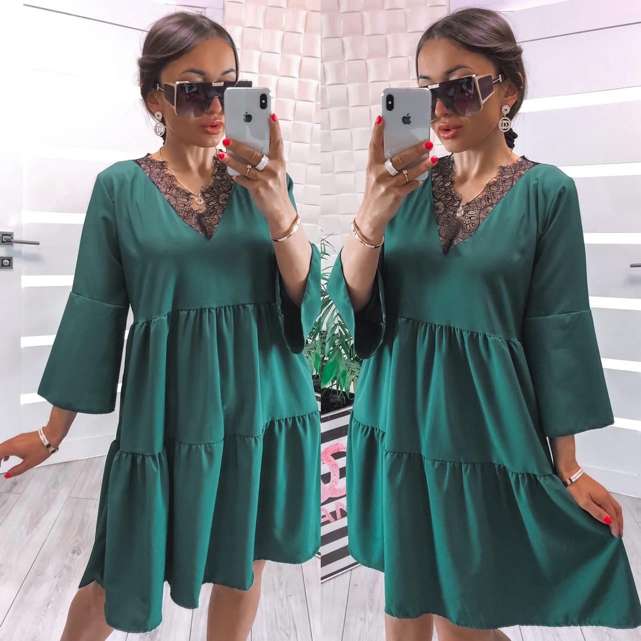 Женское платье, софт, р-р универсальный 42-46; 48-52 (зеленый)