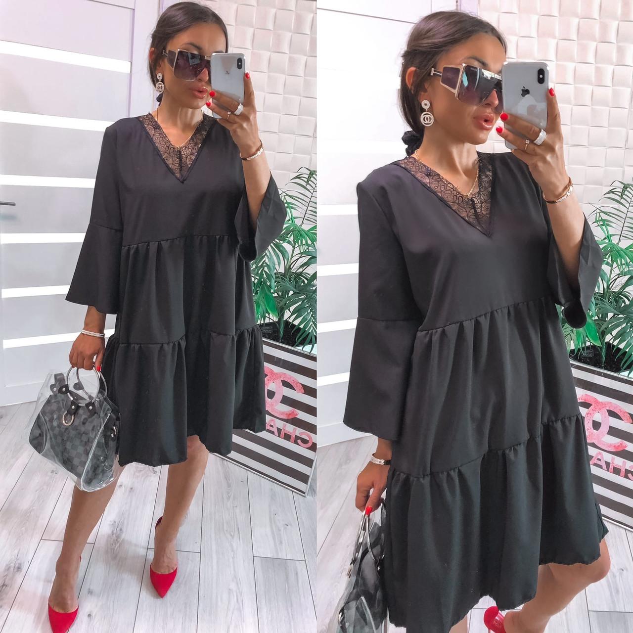 Женское платье, софт, р-р универсальный 42-46; 48-52 (черный)