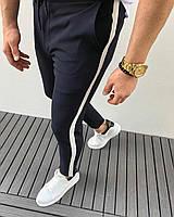 Мужские брюки черные с белой полосой Турция