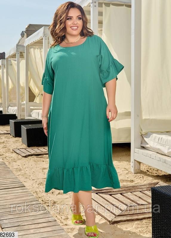 Легкое летнее женское платье XL зеленого цвета