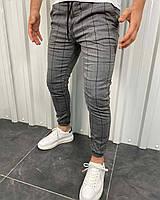Мужские серые в клетку брюки на манжетах, Турция