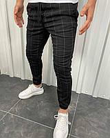 Мужские черные в белую клетку брюки на манжетах, Турция