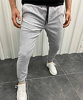 Мужские светло-серые в клетку брюки на манжетах, Турция