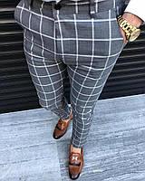 Мужские брюки серые в клетку Турция