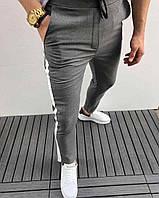 Мужские брюки серые с полосой сбоку Турция