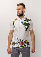Поло Pierre Cardin з колекції Denim Academy в білому кольорі з яскравим принтом