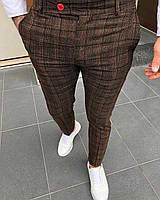 Мужские брюки коричневые в клетку Турция
