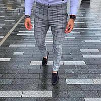 Мужские брюки светло серые в клетку Турция
