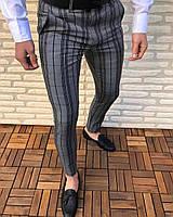 Мужские брюки серые в полоску Турция