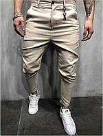 Мужские бежевые брюки зауженные к низу, Турция