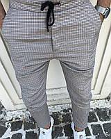 Мужские серые брюки в клетку, Турция