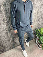 Мужской серый спортивный костюм штаны + худи с капюшоном, Турция