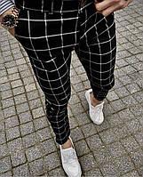 Мужские черные в белую клетку брюки, Турция