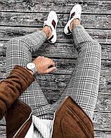 Мужские серые зауженные брюки в клетку, Турция