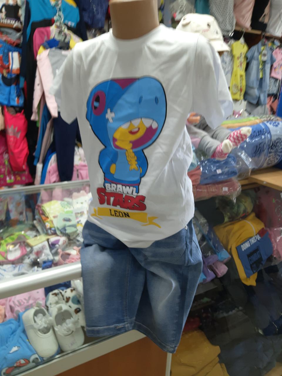 Летний костюм для мальчика футболка шорты Бравл Старс р.122 - 164
