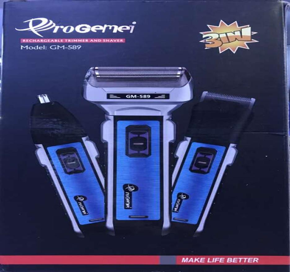 AКЦІЯ!!! Акумуляторна машинка для стрижки волосся і бороди 3 в 1 тример бритва Gemei GM-589