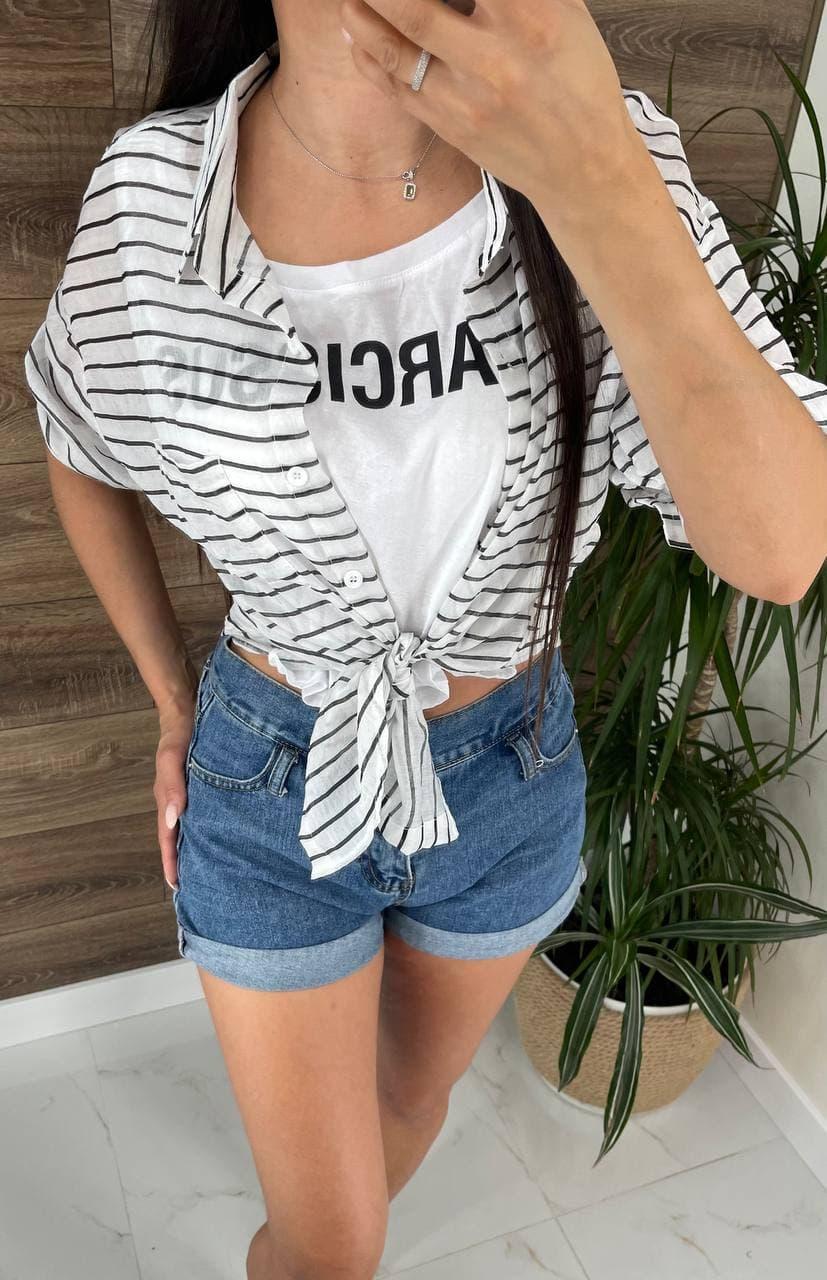 Летняя женская рубашка в полоску с имитацией майки (р. 42-46) 81ru504