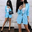 Лляний костюм двійка з вільними шортами і піджаком з накладними кишенями з поясом (р. S, M) 9101975, фото 5