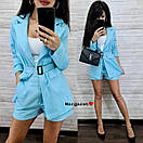 Лляний костюм двійка з вільними шортами і піджаком з накладними кишенями з поясом (р. S, M) 9101975, фото 6