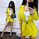 Лляний костюм двійка з вільними шортами і піджаком з накладними кишенями з поясом (р. S, M) 9101975, фото 7