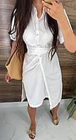 Белое пляжное платье из крепа с коротким рукавом на пуговицах (р. S-М) 81kl939