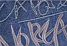 Женская джинсовая куртка оверсайз с трикотажным ярким капюшоном и вышивкой на спине (р. 42-46) 79kr636, фото 7