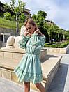 Шифоновое платье с открытыми плечами в горох с юбкой солнце с подъюбник и и поясом на талии (р. S-M) 73py2722, фото 5