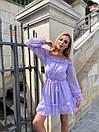 Шифоновое платье с открытыми плечами в горох с юбкой солнце с подъюбник и и поясом на талии (р. S-M) 73py2722, фото 7