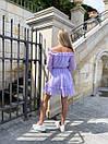 Шифоновое платье с открытыми плечами в горох с юбкой солнце с подъюбник и и поясом на талии (р. S-M) 73py2722, фото 9