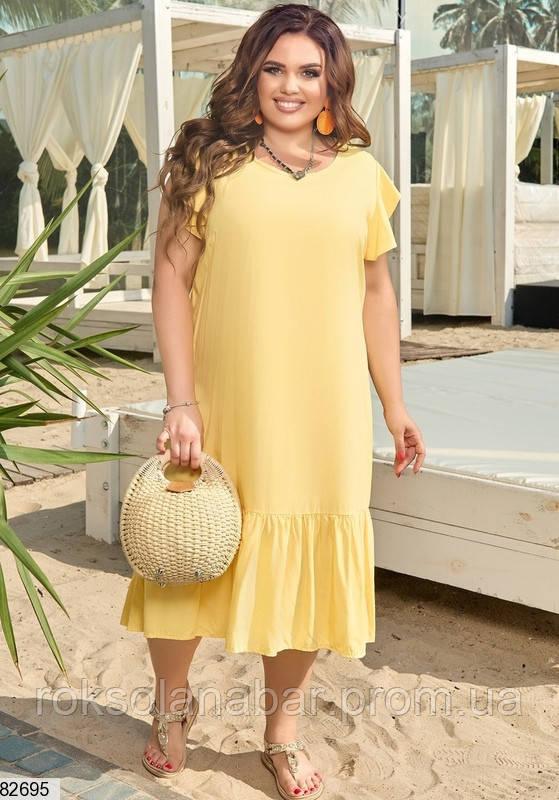 Легка літня жіноча сукня XL жовтого кольору з V-подібним вирізом на спині