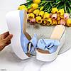Элегантные голубые кожаные женские шлепки шлепанцы натуральная кожа на белой танкетке, фото 8