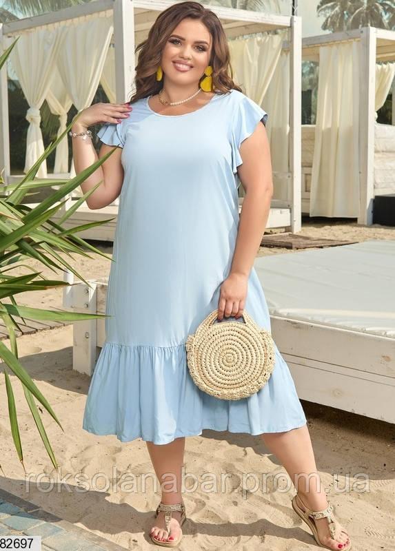 Легка літня жіноча сукня XL блакитного кольору з V-подібним вирізом на спині