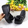 Элегантные черные кожаные женские шлепки шлепанцы натуральная кожа на платформе, фото 7